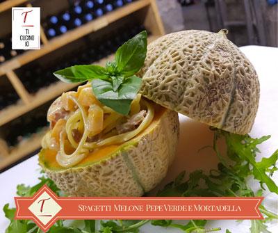 Spaghetti Melone Pepe Verde e Mortadella